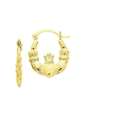 14K Yellow Gold Claddagh Hoop Earrings - 10mm