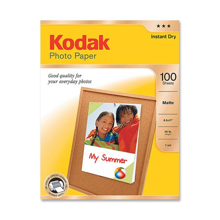 Kodak, KOD8318164, Matte Inkjet Photo Paper, 100 / Pack, White Block Out Matte Paper