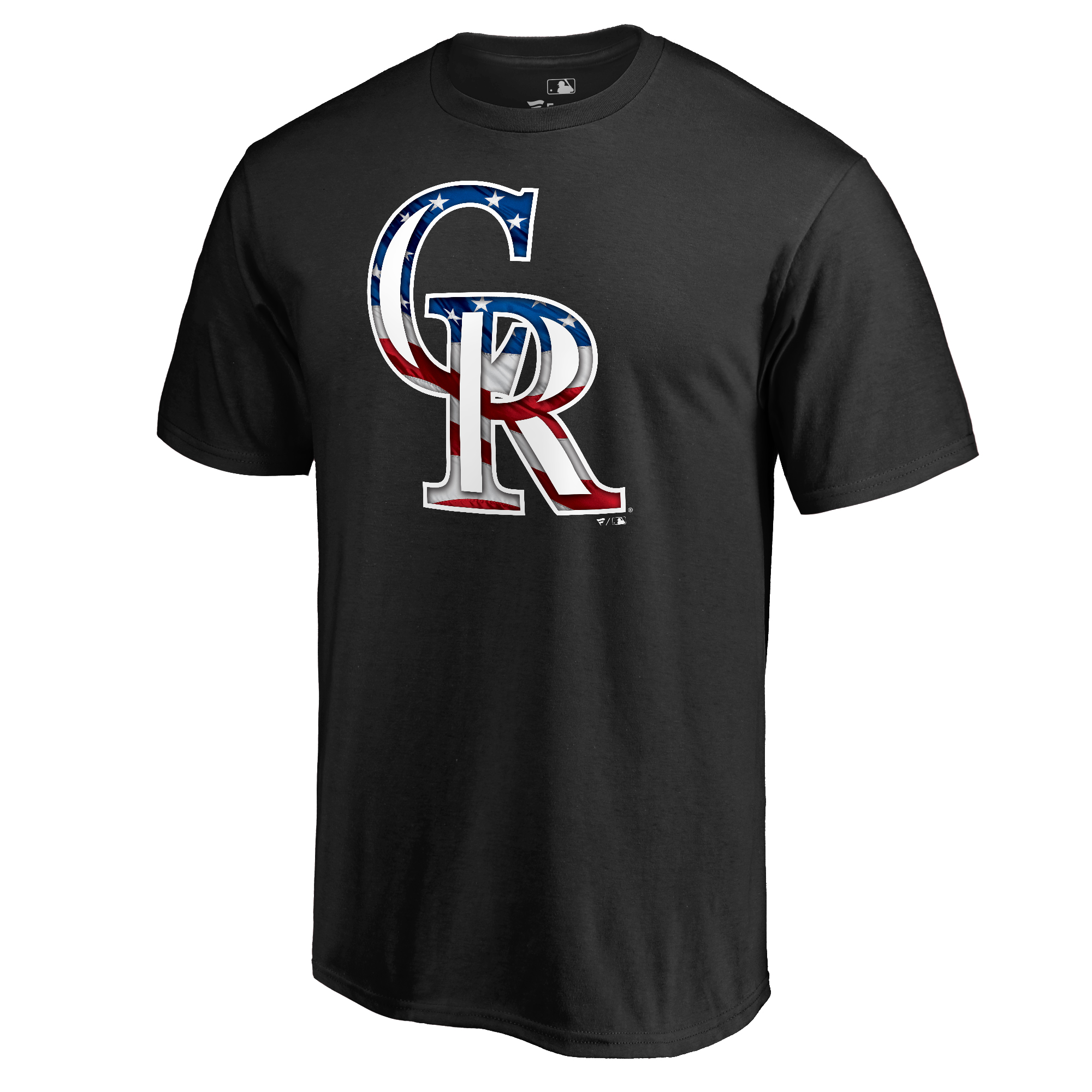 Colorado Rockies Fanatics Branded 2018 Stars & Stripes Big & Tall Primary Logo Banner Wave T-Shirt - Black