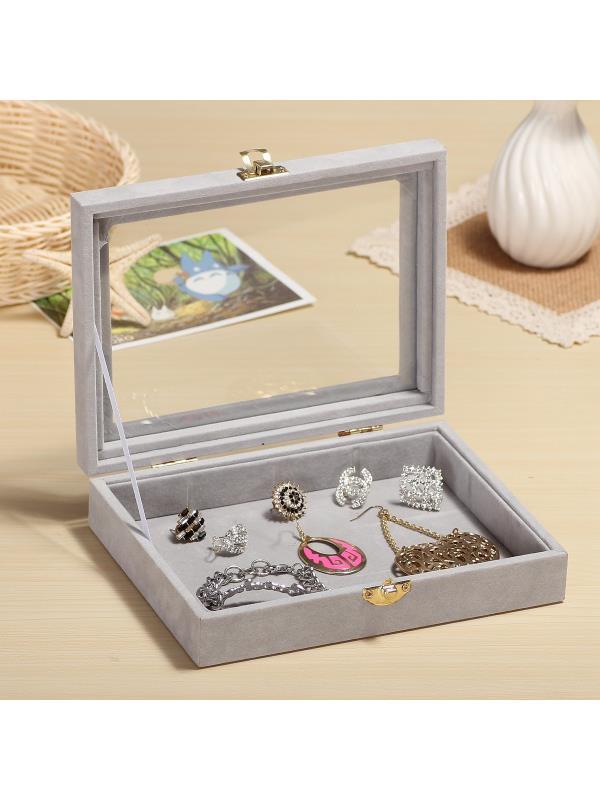Glass Jewellery Tray Rings Display Box Storage Earring Organizer Case Showcase