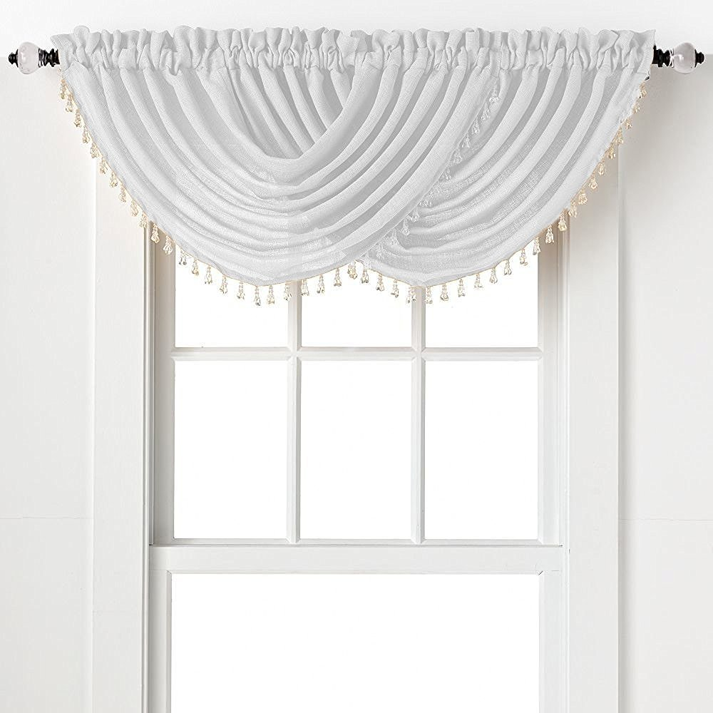 2-Pack: Beaded Emerald Crepe Waterfall Valances - White