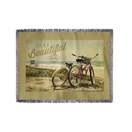Chatham, Massachusetts - Life Is A Beautiful Ride - Beach Cruiser - Lantern Press Photography (60x80 Woven Chenille Yarn Blanket)