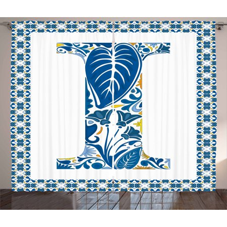 Letter I Curtains 2 Panels Set, Flower Pattern Portuguese Azulejo Art Color Scheme Mosaic Frame Design, Window Drapes for Living Room Bedroom, 108W X 108L Inches, Blue Yellow Orange, by Ambesonne