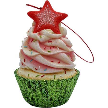 Pink Star Top Cupcake Christmas Tree Ornament ()