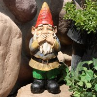 Sunnydaze Garden Gnome Seth Speaks No Evil Lawn Statue, Outdoor Yard Ornament, 12 Inch Tall