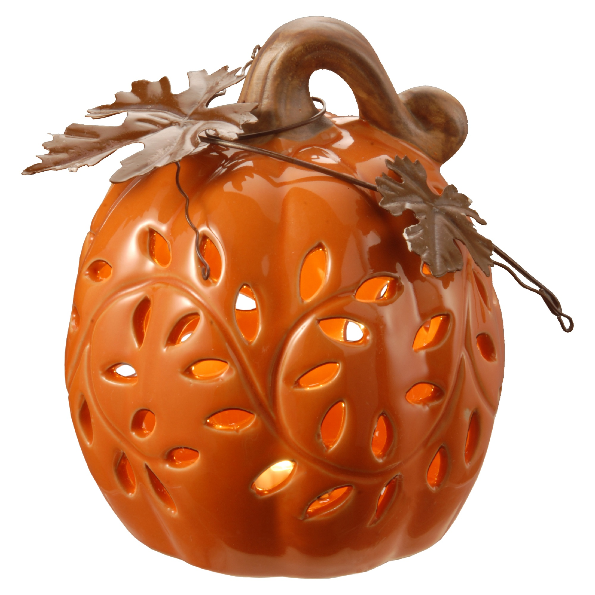"6"" Lighted Pumpkin Decor LED lights Battery Operated"