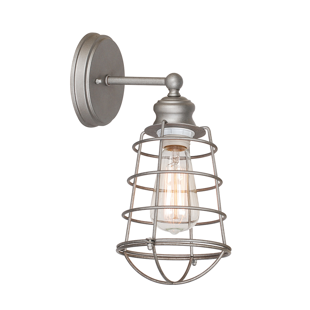 Design House 519702 Ajax 1-Light Bathroom Wall Sconce, Galvanized Finish by Design House