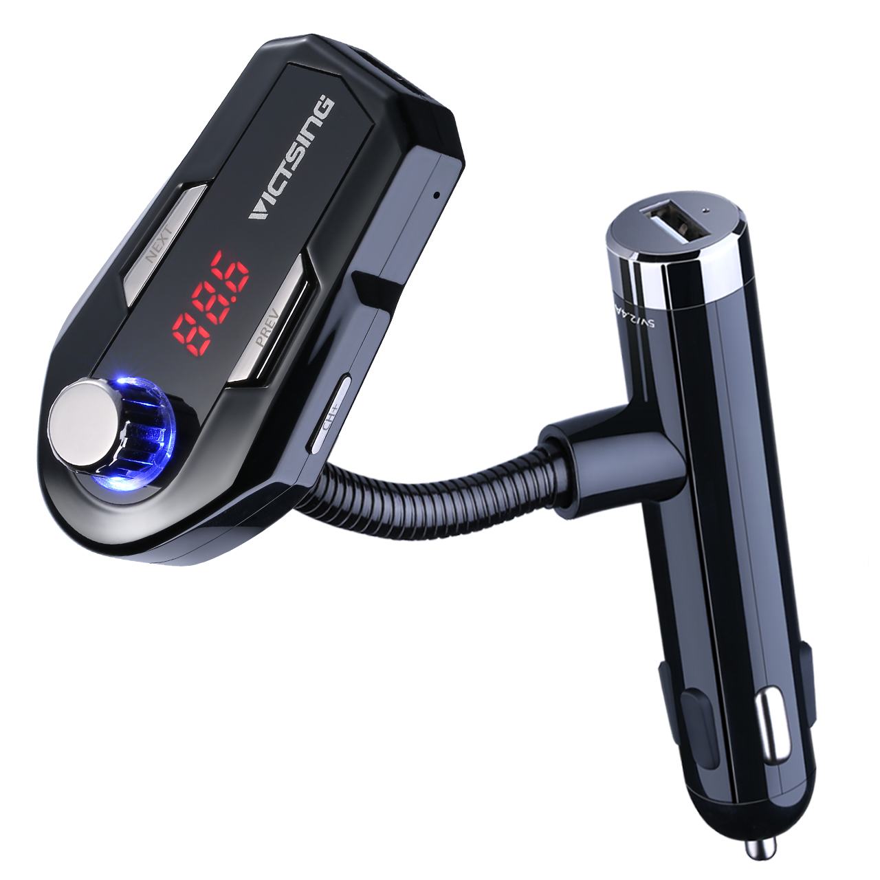 VicTsing Universal Bluetooth Wireless FM Transmitter & Car Charger with 2 USB Type A Charging Port, Hand-free Car Kit with Hands-Free Calling, With LCD Digital Screen& 3.5mm Audio Port