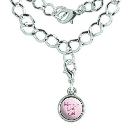 Mommy's Little Girl Pink with Flowers Silver Plated Bracelet with Antiqued Charm](Girls Charm Bracelets)