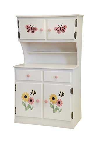 Amish-Made, Handcrafted Children's Wooden Hutch (White With Stencil) by