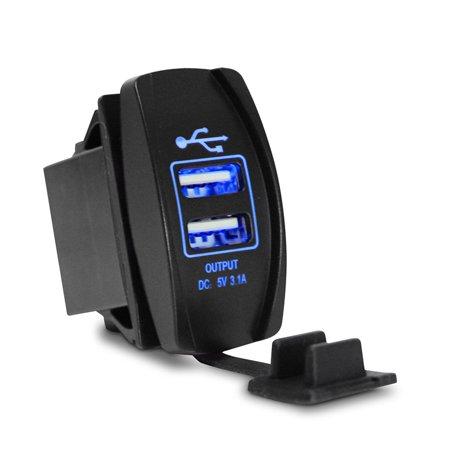 New Car Motor Waterproof 3.1A Dual USB Socket Charger Power Adapter LED 12-24V MZ