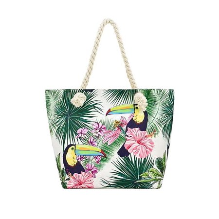 Tropical Floral Toucan Bird Print Vegan Shoulder Tote Bag Purse - Style -