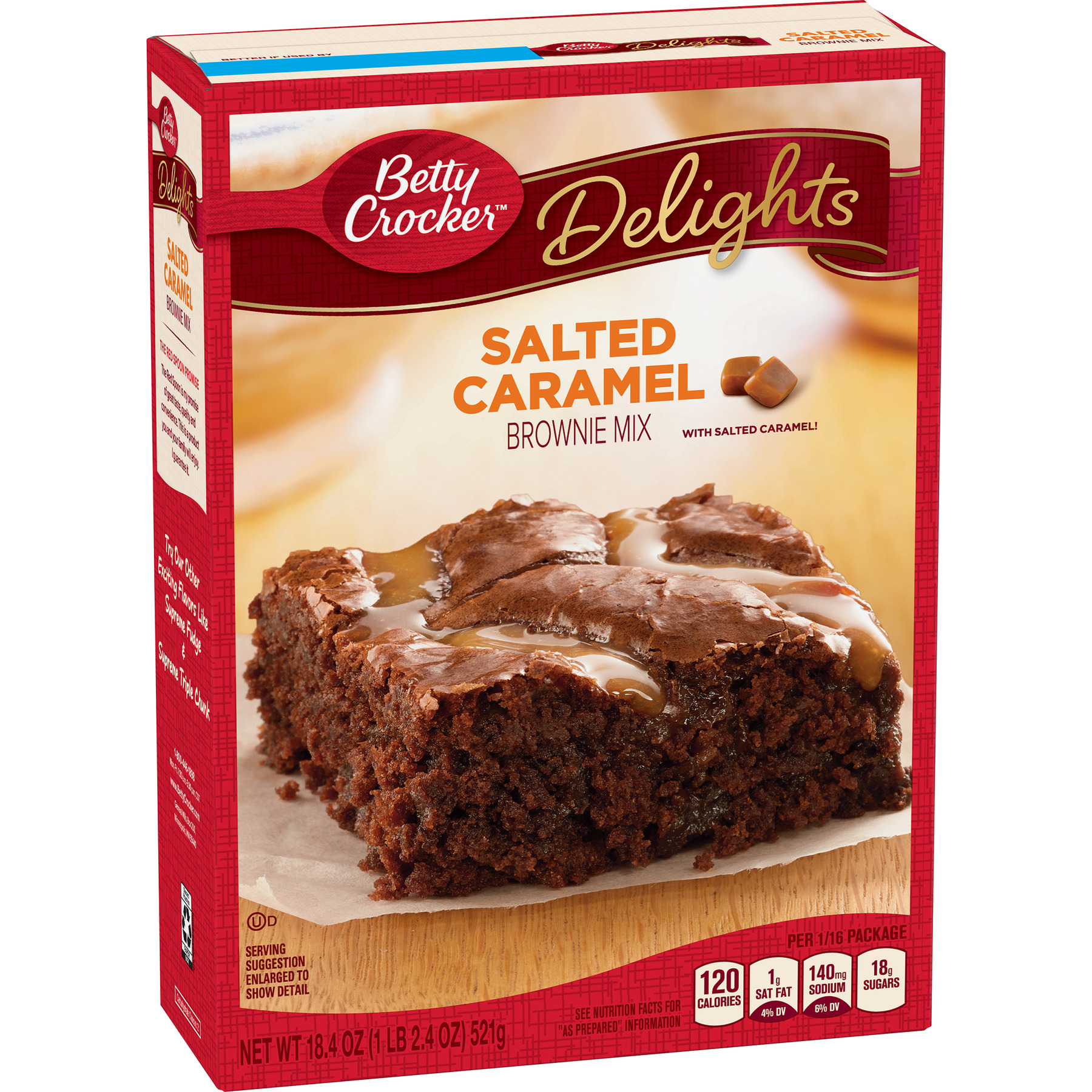 (4 Pack) Betty Crocker Delights Salted Caramel Brownie Mix, 18.4 oz