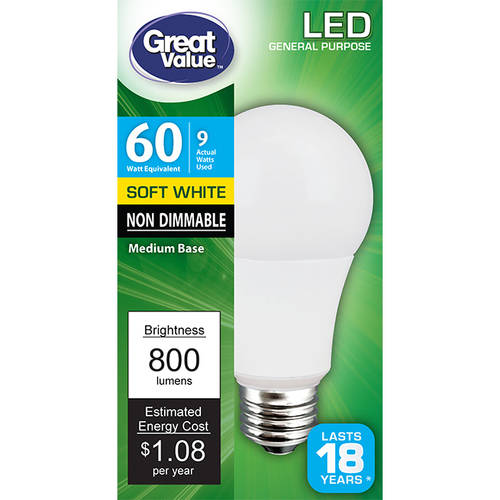 Great Value LED Light Bulb 9W (60W Equivalent) A19 (E26), Soft White