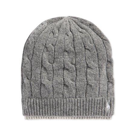 5f798c068ac Ralph Lauren - Ralph Lauren Mens Cable Beanie Hat charcoal One Size -  Walmart.com