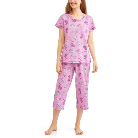 Secret Treasures Women's Pajama Tee and Capri Sleep Pant 2 Piece Sleepwear Set - Halloween Capri Suns