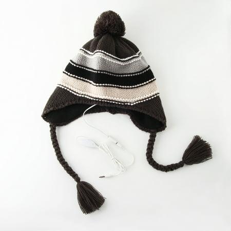 Women's Black & White Stripe Pom Pom Tassel Beanie Hat w/ Built-In - Tassel Knit Hat