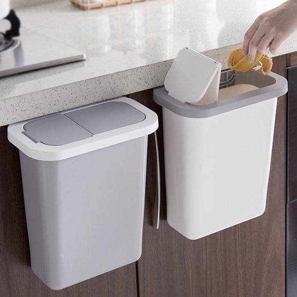 Hanging Trash Can With Lid For Kitchen, Bathroom Garbage Can With Lid