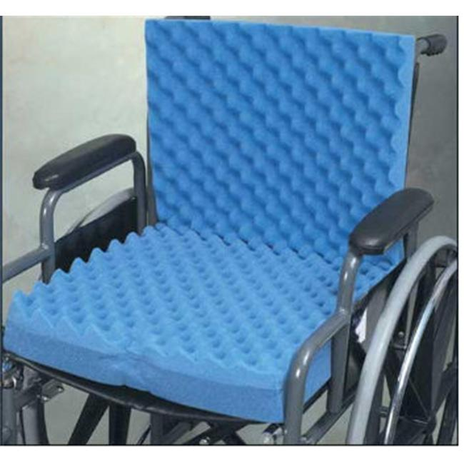 Complete Medical 1960A 18 inch x 32 inch x 3 inch Eggcrate Wheelchair Cushion with Back