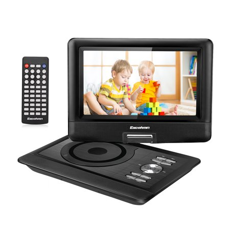 Excelvan Portable DVD Player With 10.5' TFT LED Screen Built-in 5000mAh Rechrgeable Li-battry Support DVD/ USB/ SD Input Car