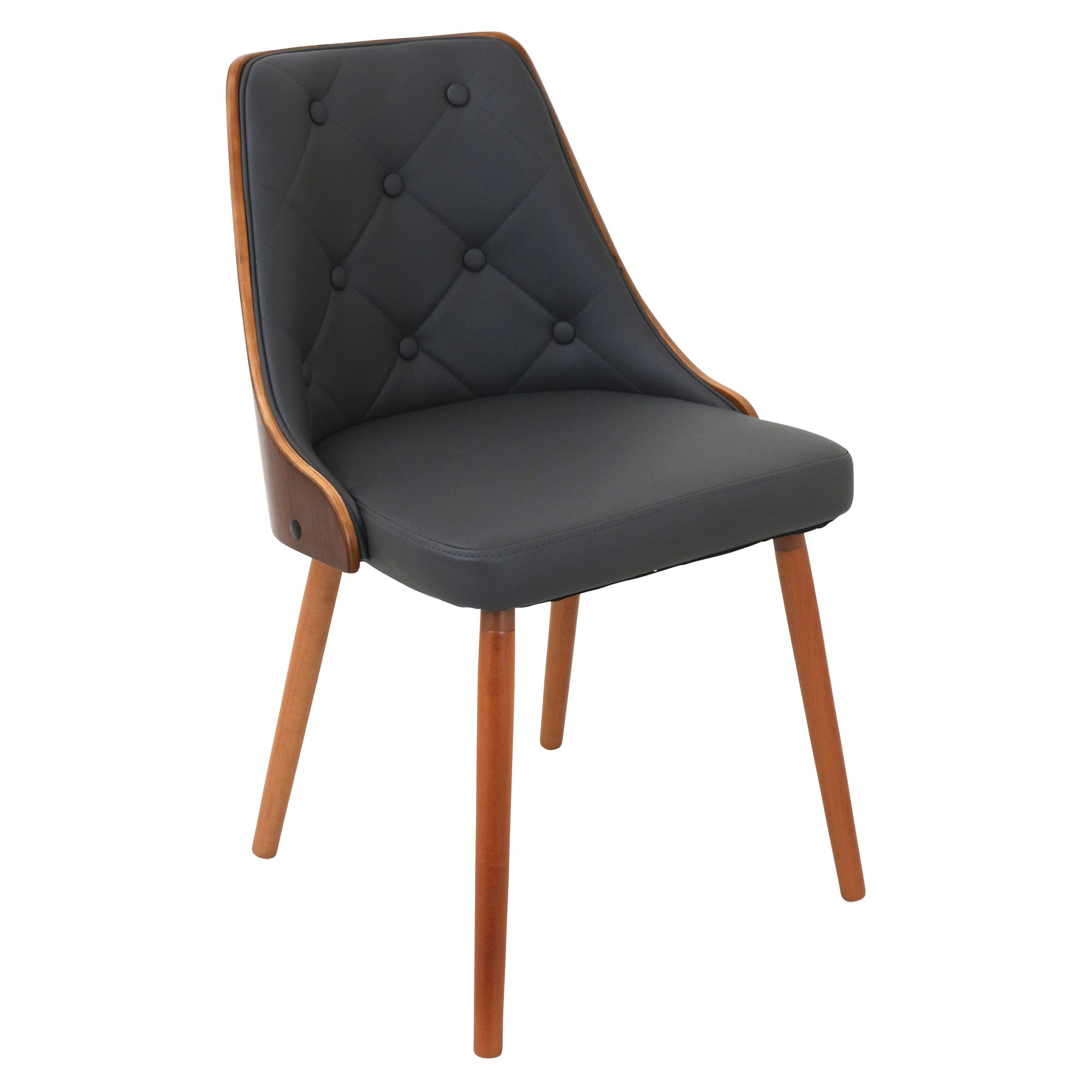 Gianna Mid Century Modern Dining/Accent Chair In Walnut With Grey Faux  Leather By LumiSource