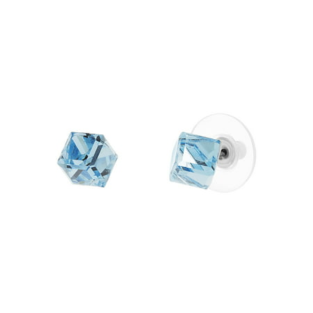 Aquamarine Set Stud (Cubed Shape Aquamarine Stud Earring Set in Stainless Steel made with Swarovski)