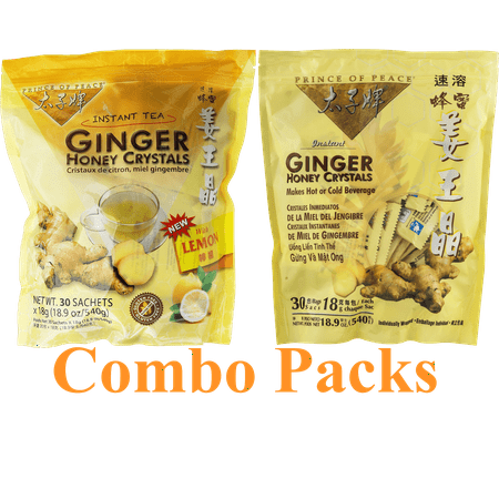Prince of Peace Ginger Honey Crystals 30 Small Bags Original Plus Lemon Flavored Combo Pack