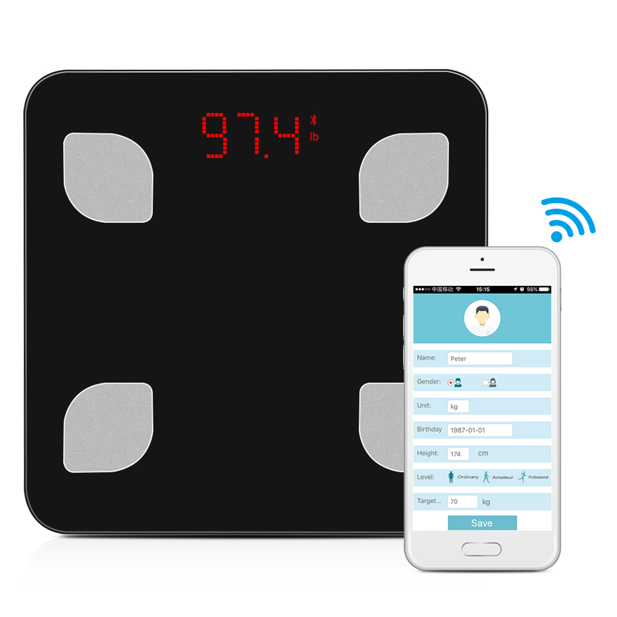 Bluetooth Body Fat Scale - Smart BMI Scale Digital Bathroom Wireless Weight Scale, Body Composition Analyzer with Smartphone App for Body Weight, Fat, Water, BMI, BMR, Muscle Mass, Visceral Fat(Black)