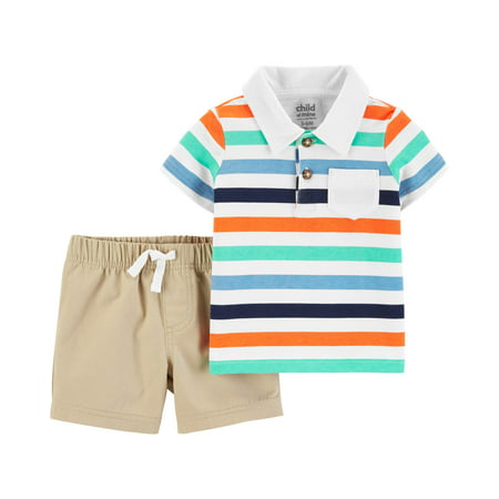 Child of Mine Short Sleeve Polo Shirt and Shorts, 2 pc set (Toddler Boys)