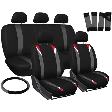 Front Bucket Seats (Oxgord 17-Piece Set Flat Cloth Mesh/Auto Seat Covers Set, Airbag Compatible, Front Low Back Buckets, 50/50 or 60/40 Rear Split Bench, Universal)