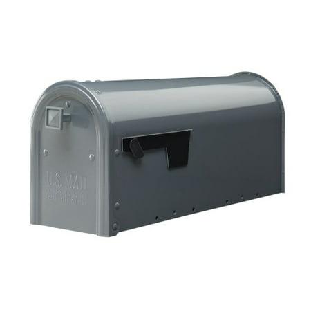 Gibraltar Mailboxes Edson Medium Capacity Galvanized Steel Gray Post Mount Mailbox, EM110GM0