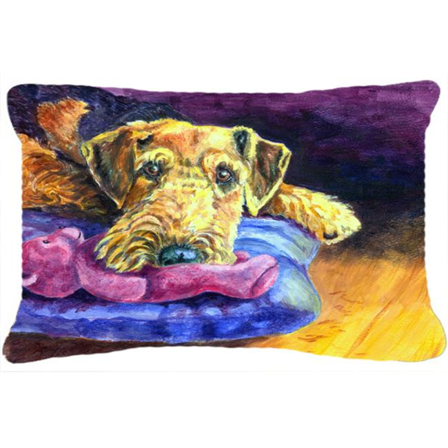 Carolines Treasures 7345PW1216 Airedale Terrier Teddy Bear Fabric Decorative Pillow - image 1 de 1