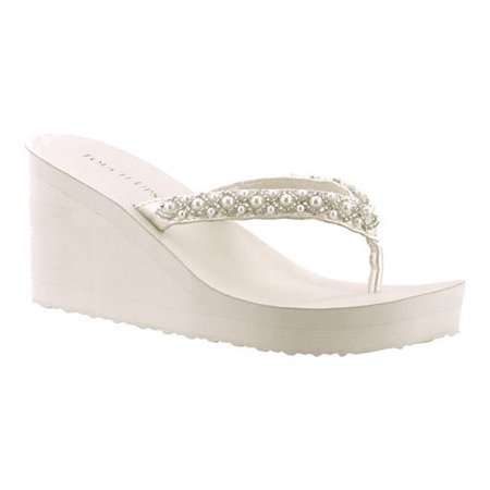 Women's Touch Ups Shelly Thong Wedge Sandal - Toms Ivory Wedges