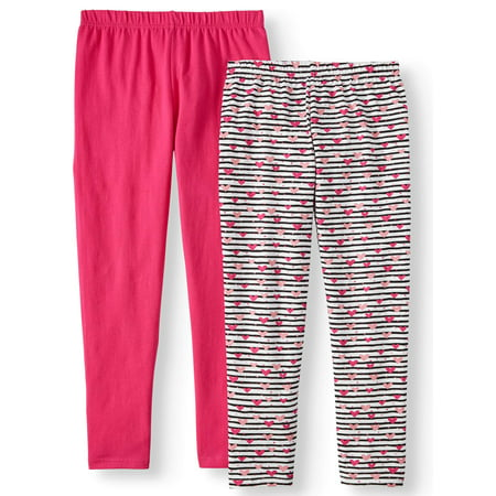 Pink Velvet Printed and Solid Leggings, 2-Pack (Little Girls & Big Girls)