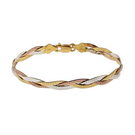 Triple Tone Sterling Silver Braided Bracelet