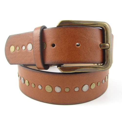 Faded Glory Women's Wide Brown Belt with Studs