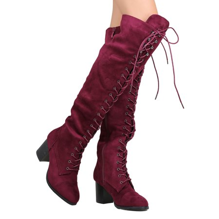 300179216b95 Nature Breeze - Women Faux Suede Over The Knee Lace Up Chunky Heel Combat  Boot FI01 - Walmart.com