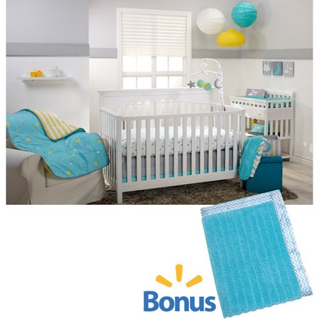 Little Bedding by NoJo Twinkle Twinkle 3-Piece Crib Bedding Set with Value Blanket (Nursery Ensemble)