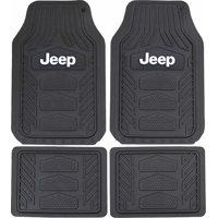Plasticolor 001668R01 Weatherpro Black One Size Jeep Logo Car Truck SUV Heavy Duty Rubber, 4 Piece Front and Rear Floor Mat Set
