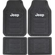 Plasticolor 001668R01 Weatherpro Black One Size Jeep Logo Car Truck SUV Heavy Duty Rubber, 4 Piece Front and Rear Floor Mat Set