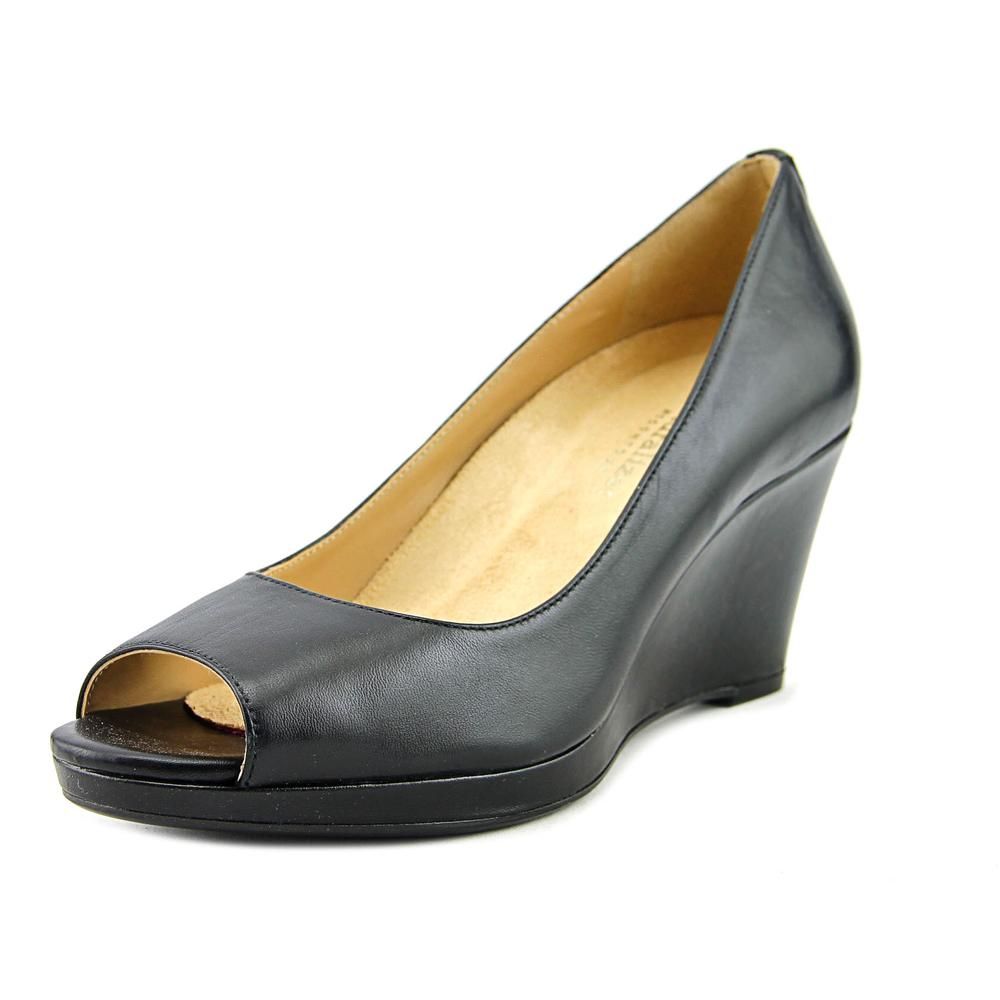 Naturalizer Olivia Women Open Toe Leather Black Wedge Heel by Naturalizer