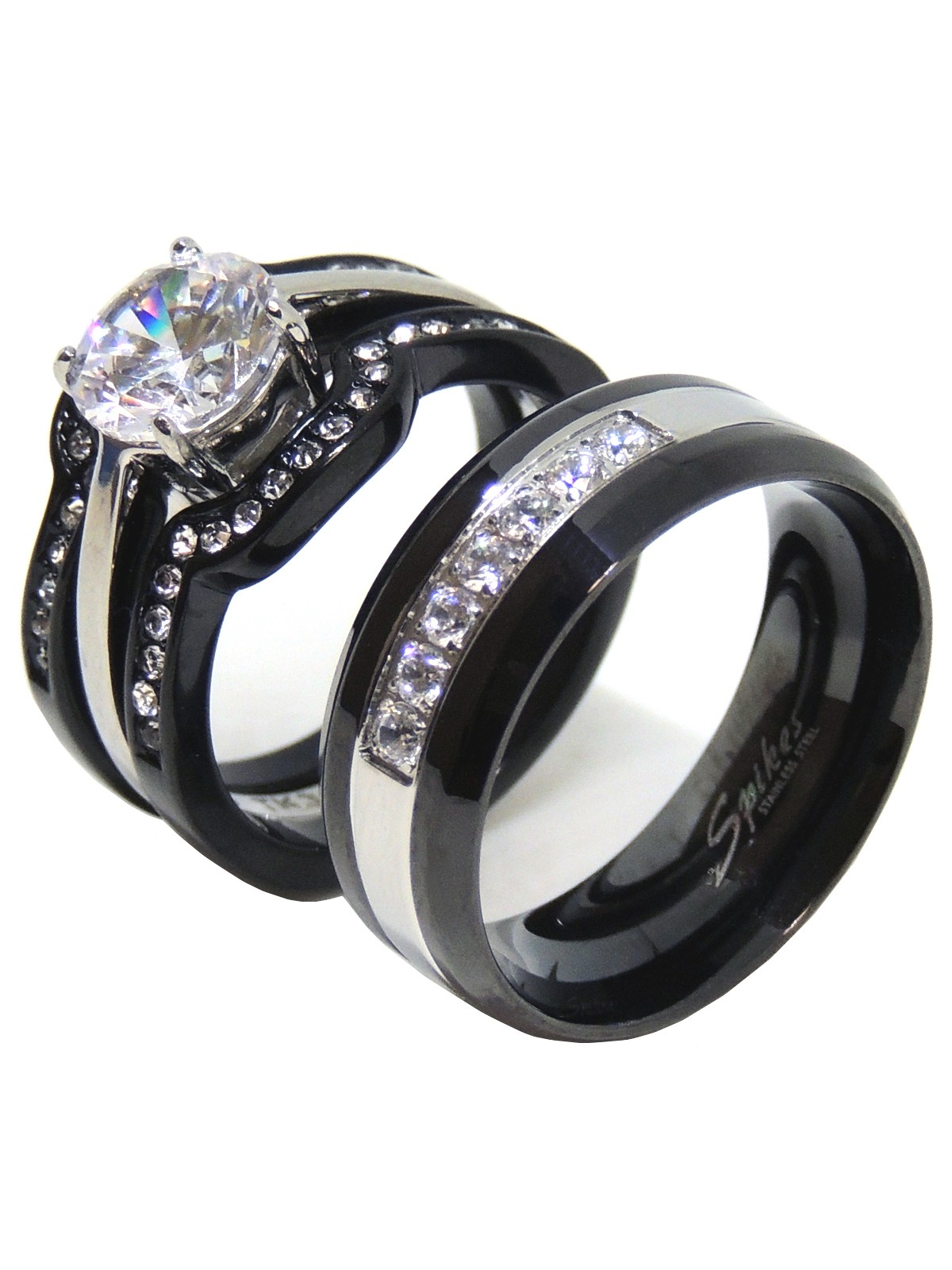cdf0783d12225 His Hers Couples Ring Set Womens Round CZ Promise Two Tone Ring Mens 7 CZs  Wedding Band- Size W6M12