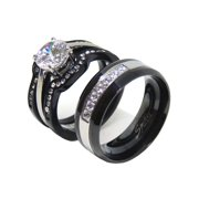 His Hers Couples Ring Set Womens Round CZ Promise Two Tone Ring Mens 7 CZs Wedding Band- Size W5M9