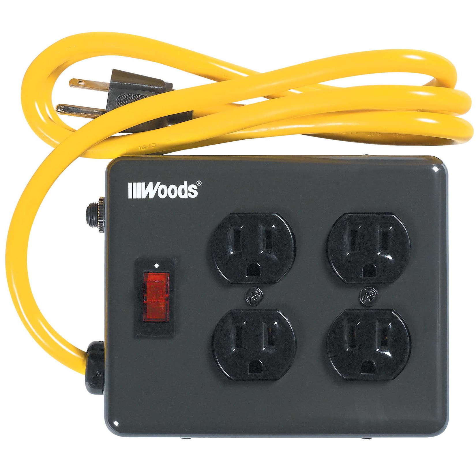 Woods 2177 4-Outlet Metal Power Block Adapter with Lighted Switch, 4-Feet, Black