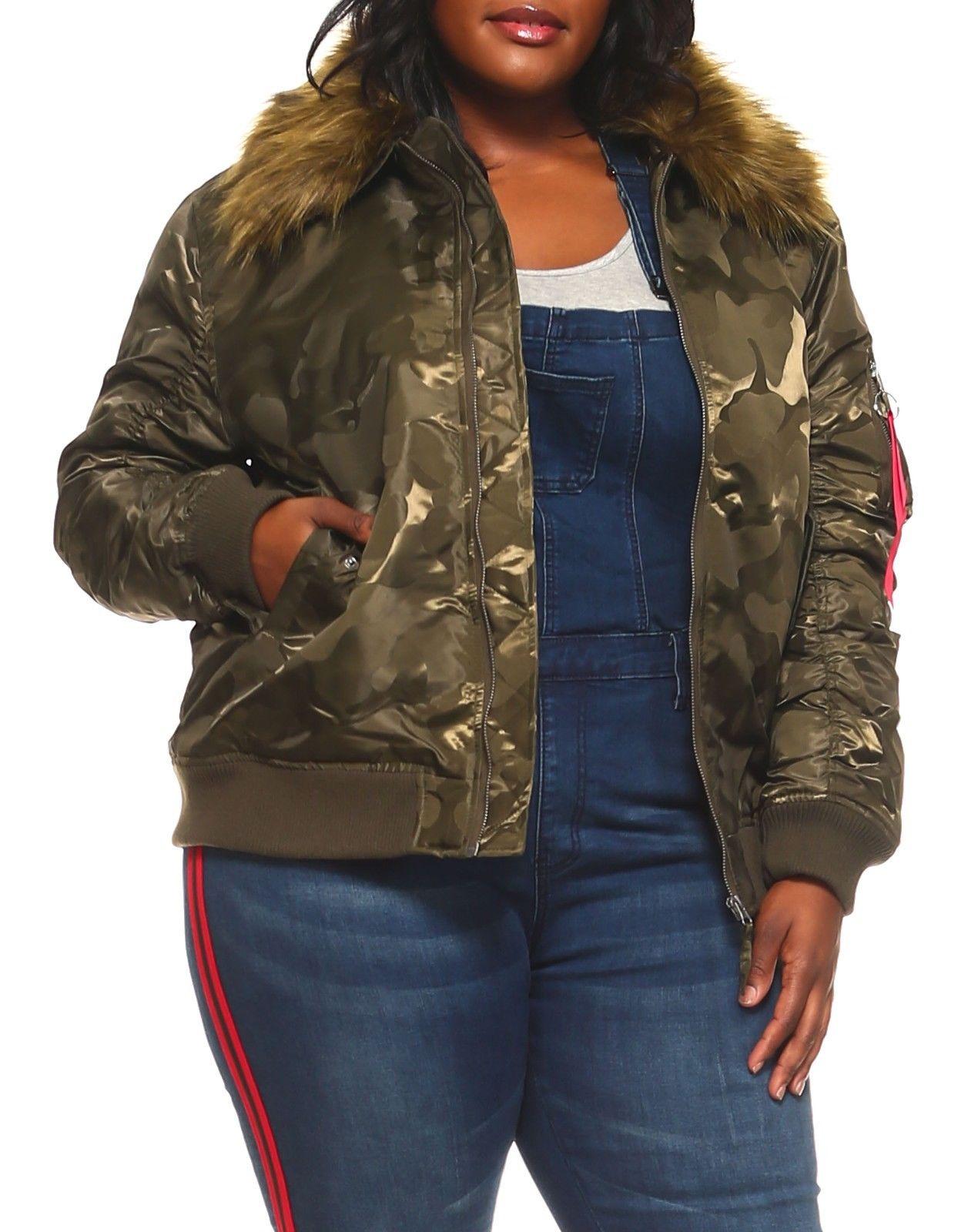 d4bd4aaa0 Genx - Womens Plus Size Winter Faux Fur Puffer Bomber Parka Jacket ...