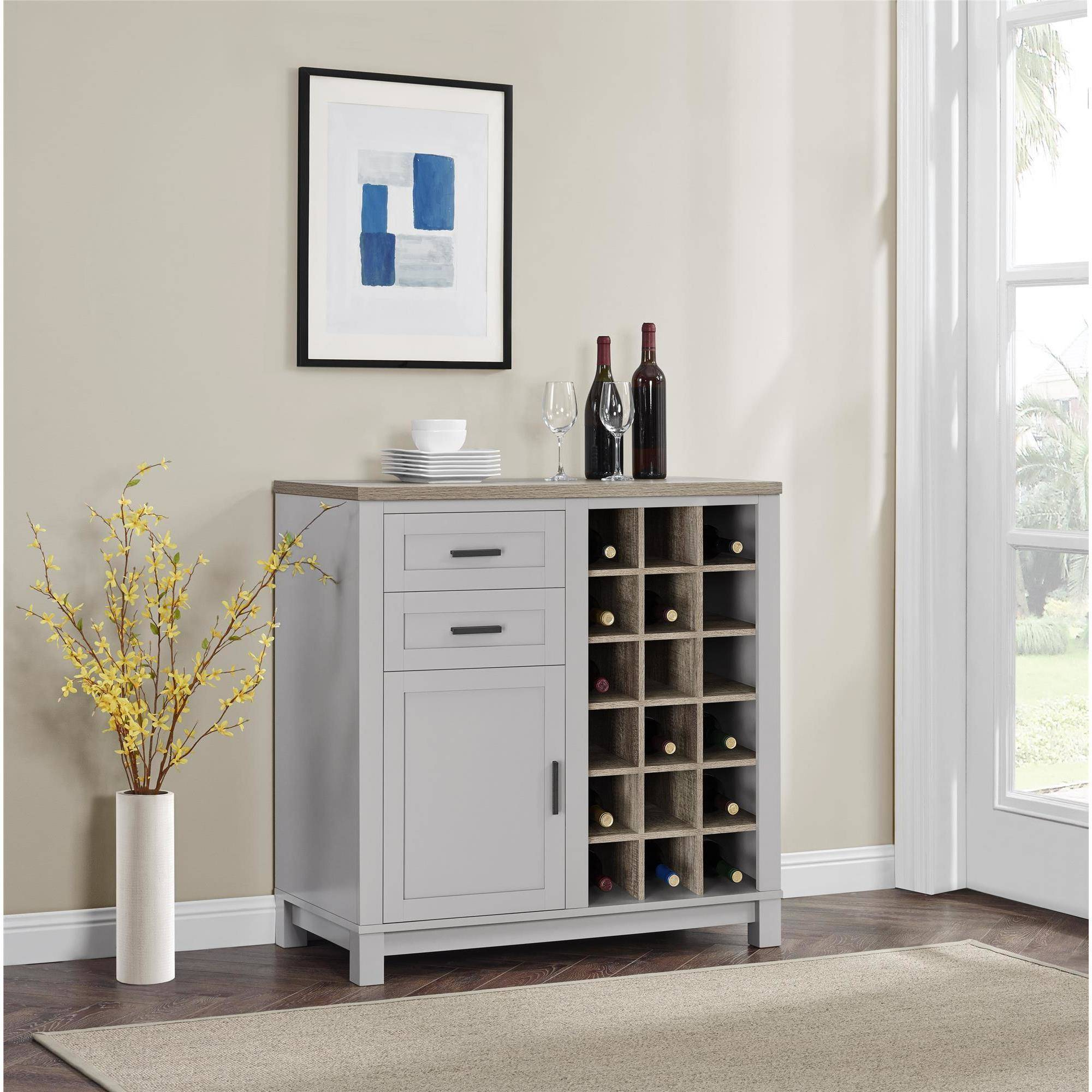 Better Homes and Gardens Langley Bay Bar Cabinet, Gray/Sonoma Oak