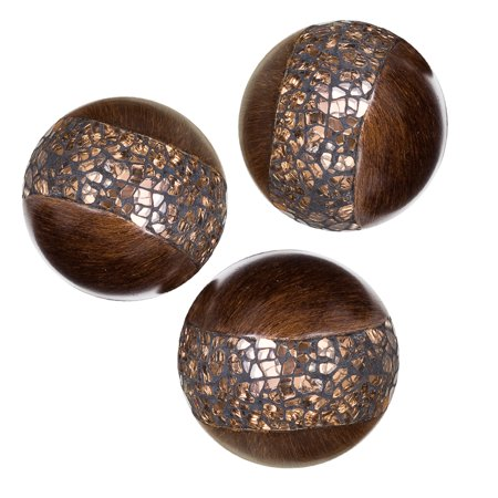 Schonwerk Walnut Decorative Orbs for Bowls and Vases (Set of 3) Resin Sphere Balls | Dining/Coffee Table Centerpiece | Great Gift Idea (Crackled Mosaic) - Paris Centerpieces Ideas