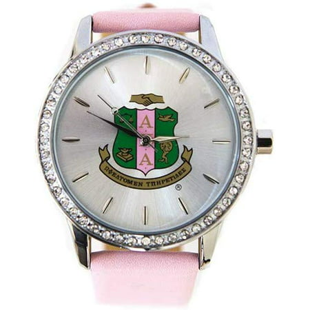 New Alpha Kappa Alpha Sorority Pink Leather Band Watch With Shield
