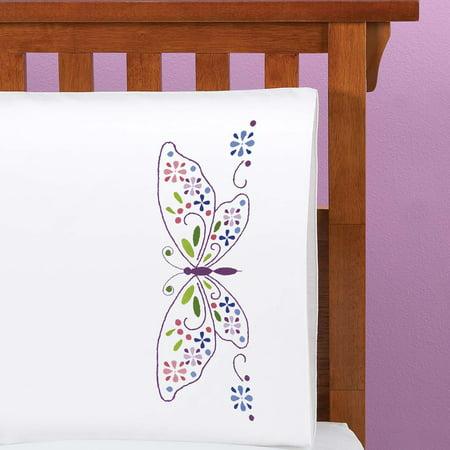 (Butterfly Grandeur Pillowcase Pair or Dresser Scarf Thread Kit)