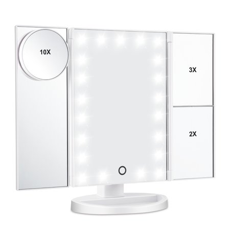 Led Lighted Makeup Mirror, Magicfly 10X 3X 2X 1X Magnifying Mirror 21 LED Tri-Fold Vanity Mirror with Touch Screen